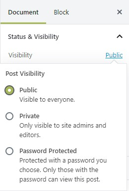 Choosing a visibility option in WordPress.