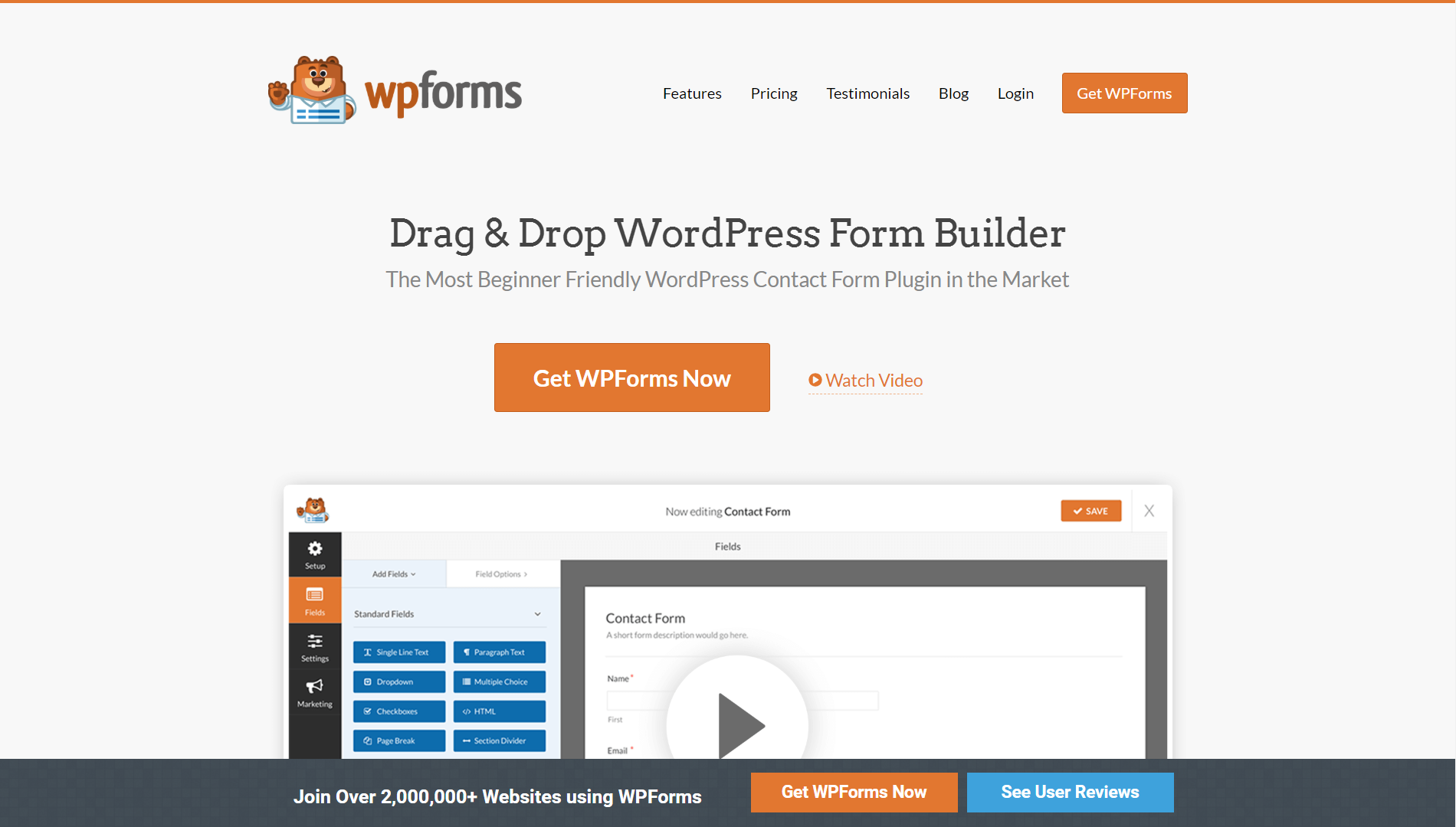 The homepage of WPForms