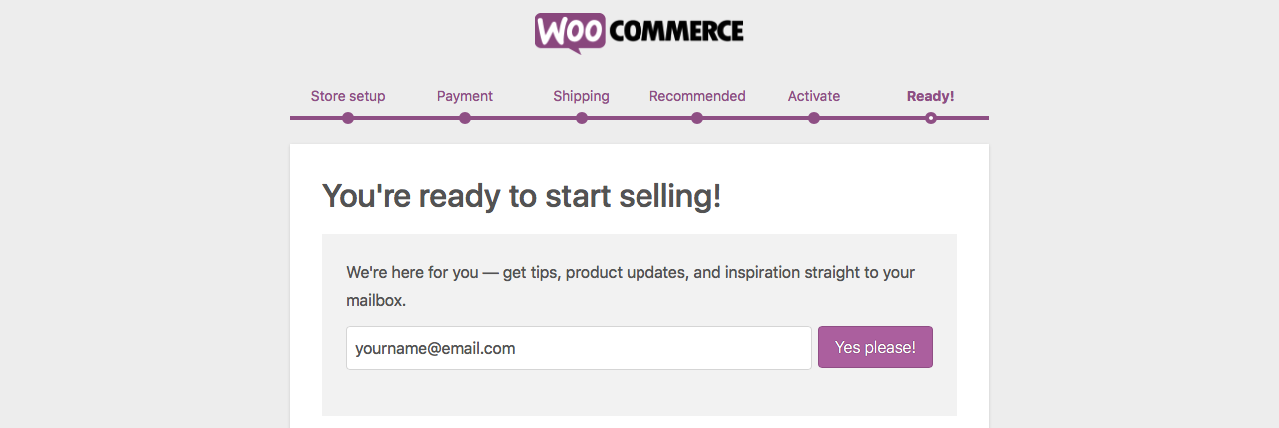 Your Woocommerce Site is Ready