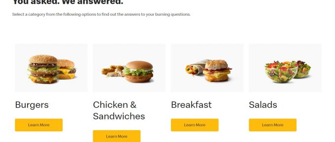 mcdonald faq page is a great example on how to create a faq page for fast food joint