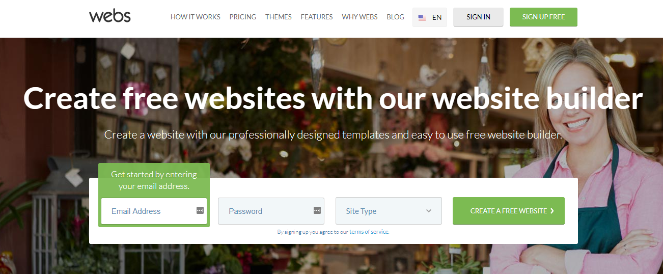 Webs homepage website builder