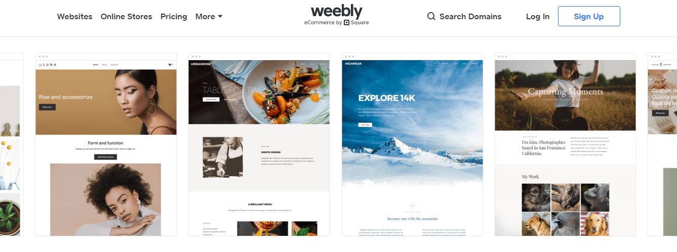 Weebly website builder homepage