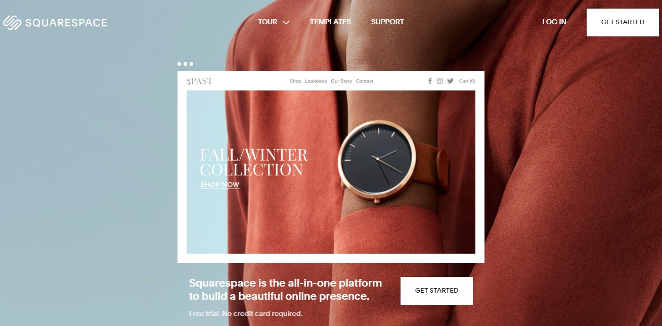 Squarespace's homepage as one of the best blog sites