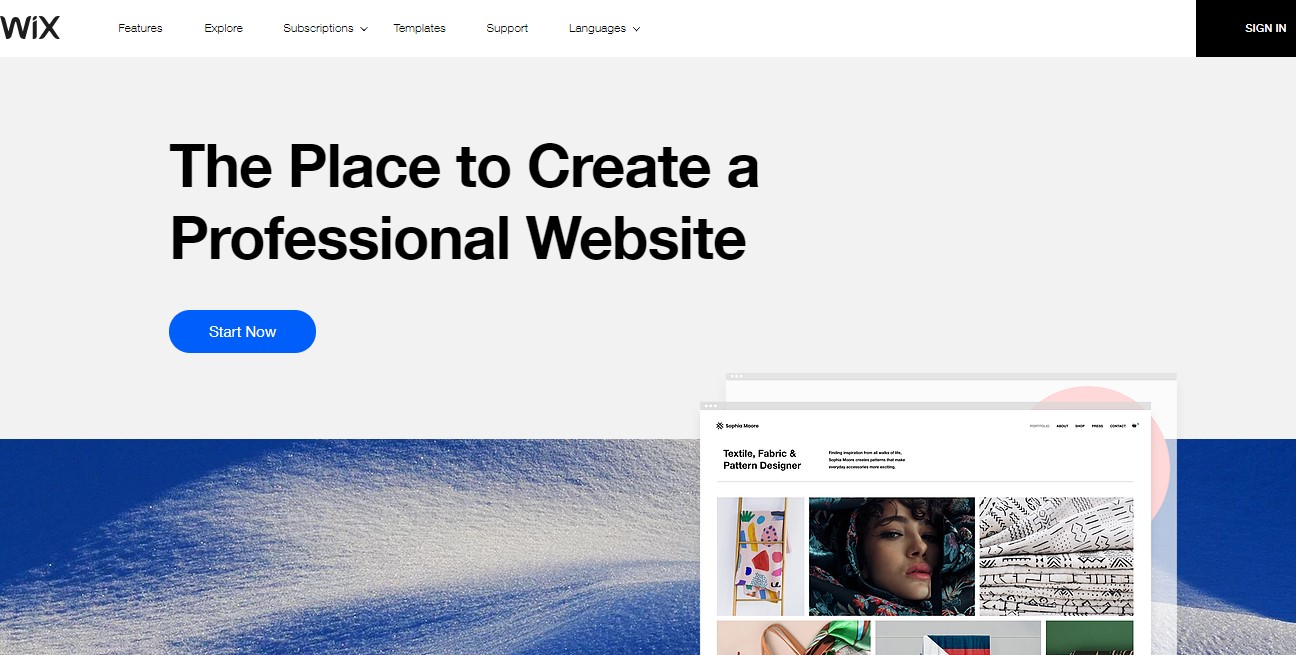 Wix's homepage