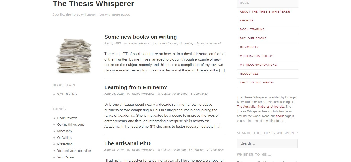 The Thesis Whisperer's homepage, which is an example of a classroom blogger