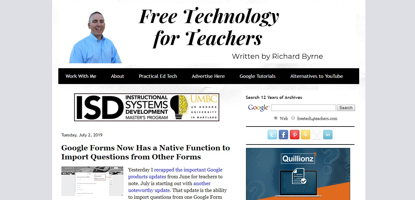one of classroom bloggers called Free Technology for Teachers