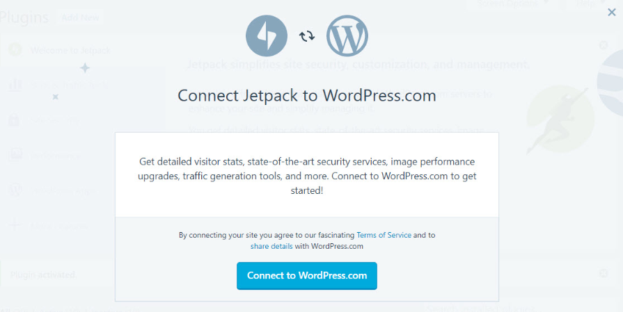 Connecting Jetpack to a WordPress.com account