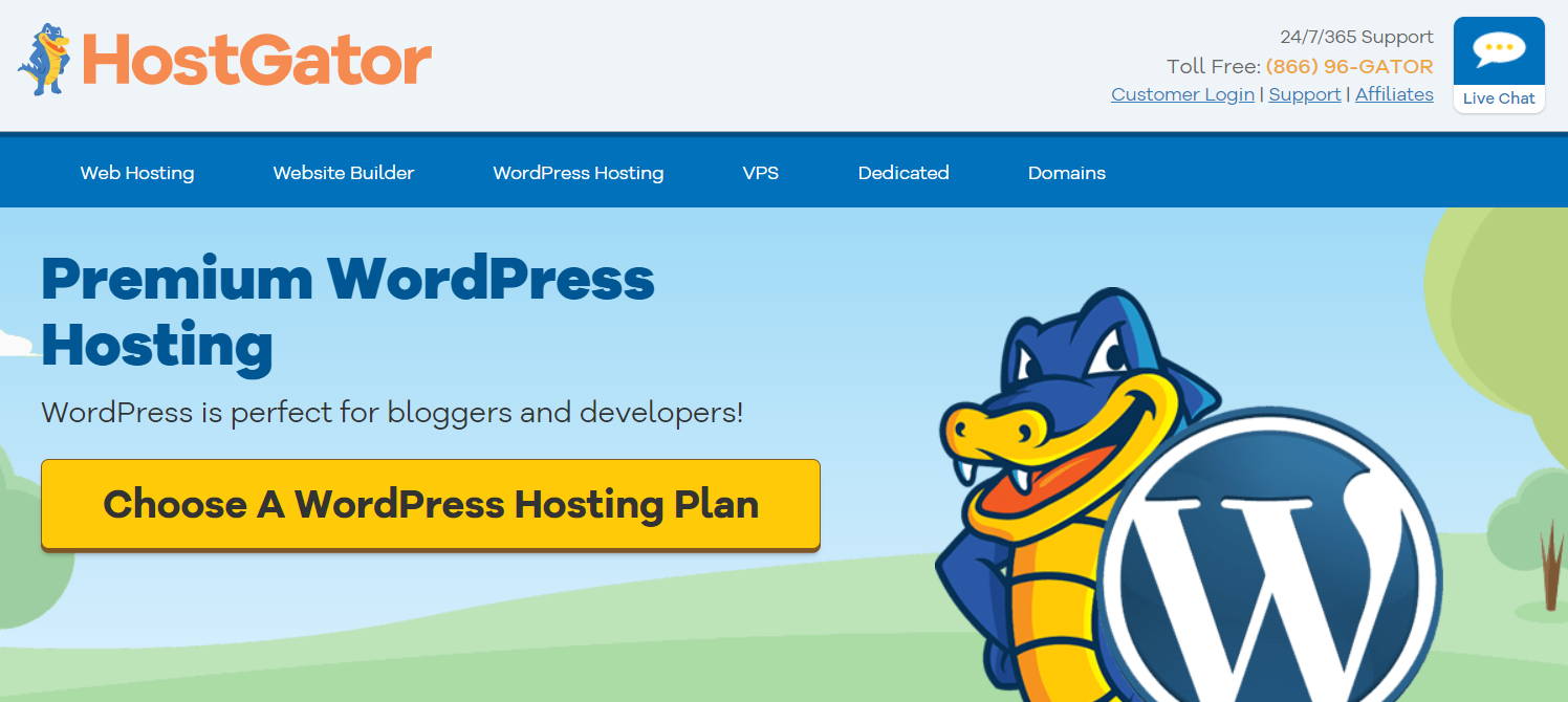 The official homepage of HostGator