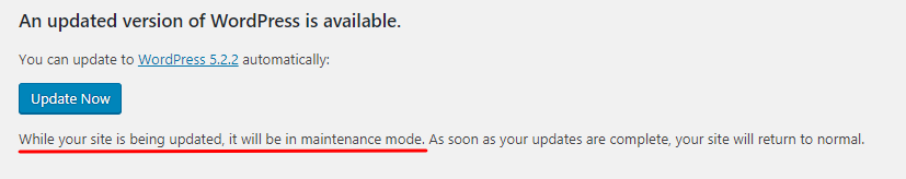 The built-in maintenance mode