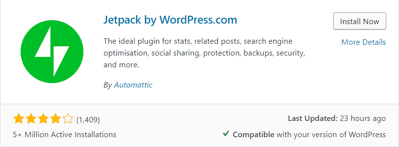 Jetpack on the WordPress plugin section