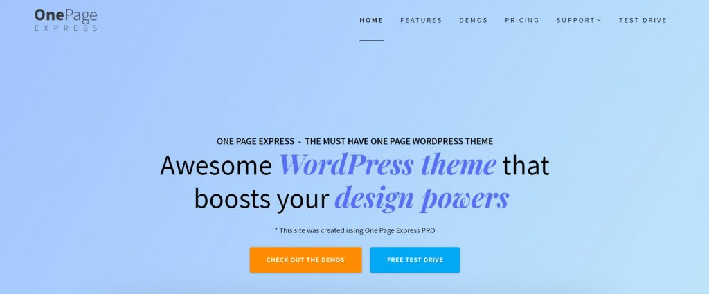 One Page Express Free Theme