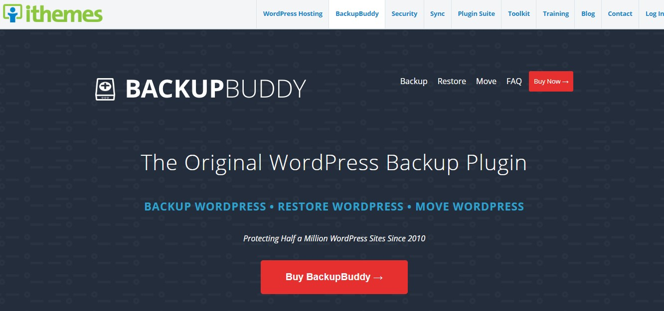 BackupBuddy homepage.