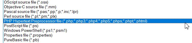 Selecting PHP Hypertext Preprocessor file type on a text editor