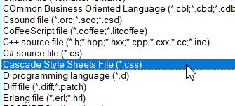 Selecting the CSS file format on a text editor.
