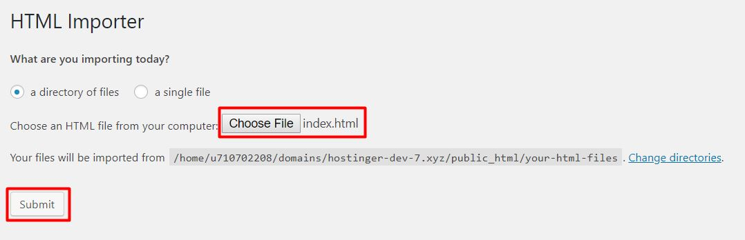 Begin the process of importing HTML using the HTML Importer plugin.