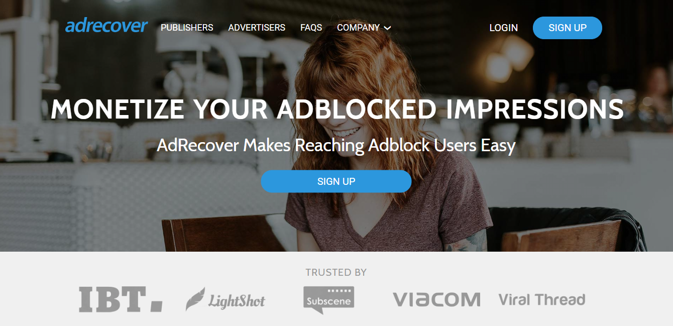 AdRecover ad network homepage