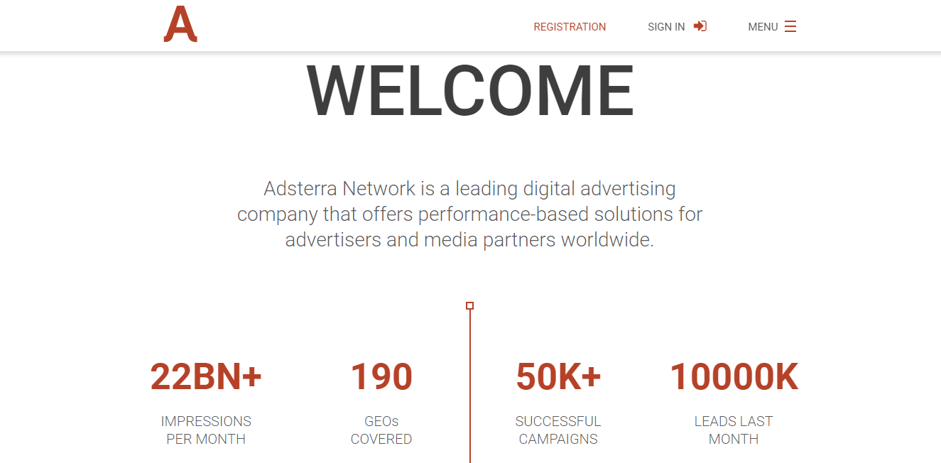 Adsterra ad network homepage