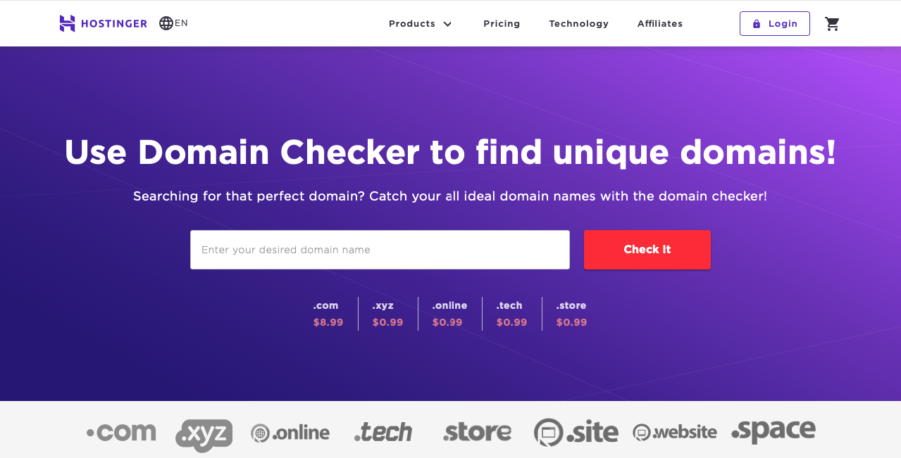 Hostingers domain checker tool