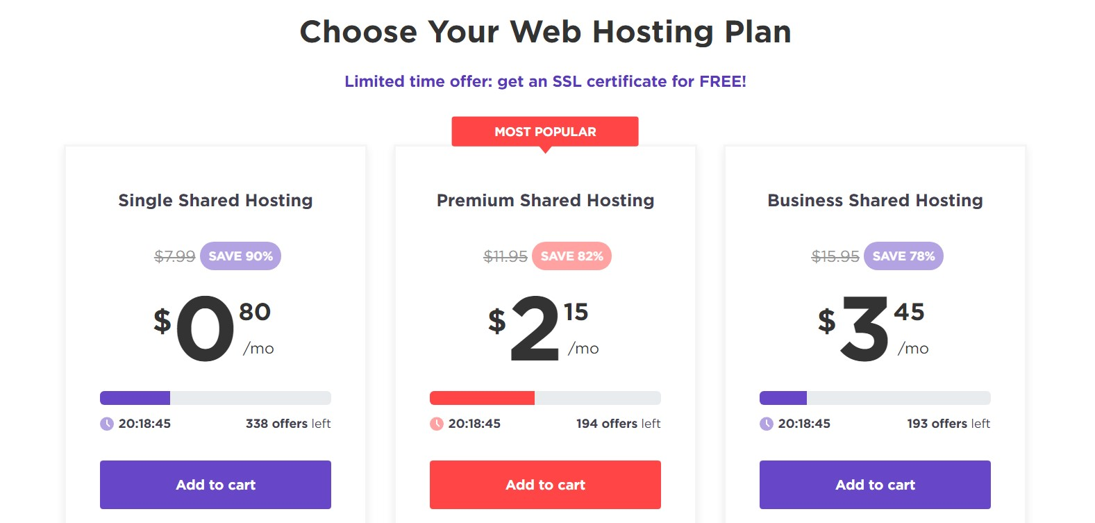Hostinger's shared web hosting pricing plans