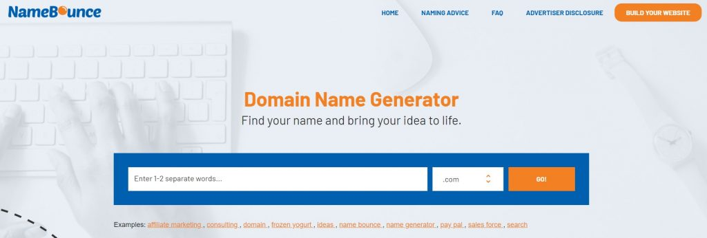 Name Bounce website
