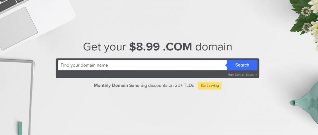 Name.com domain search bar.