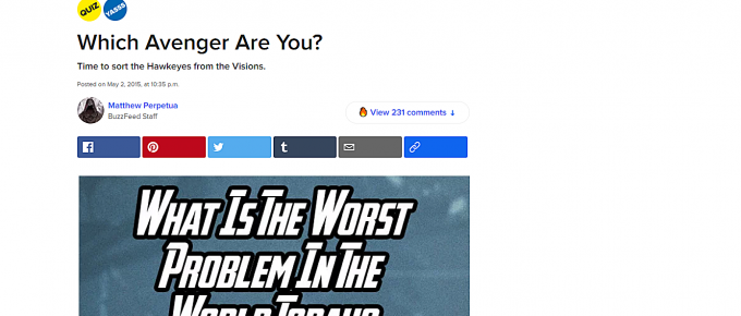 BuzzFeed personality quiz. Which Avenger are you?