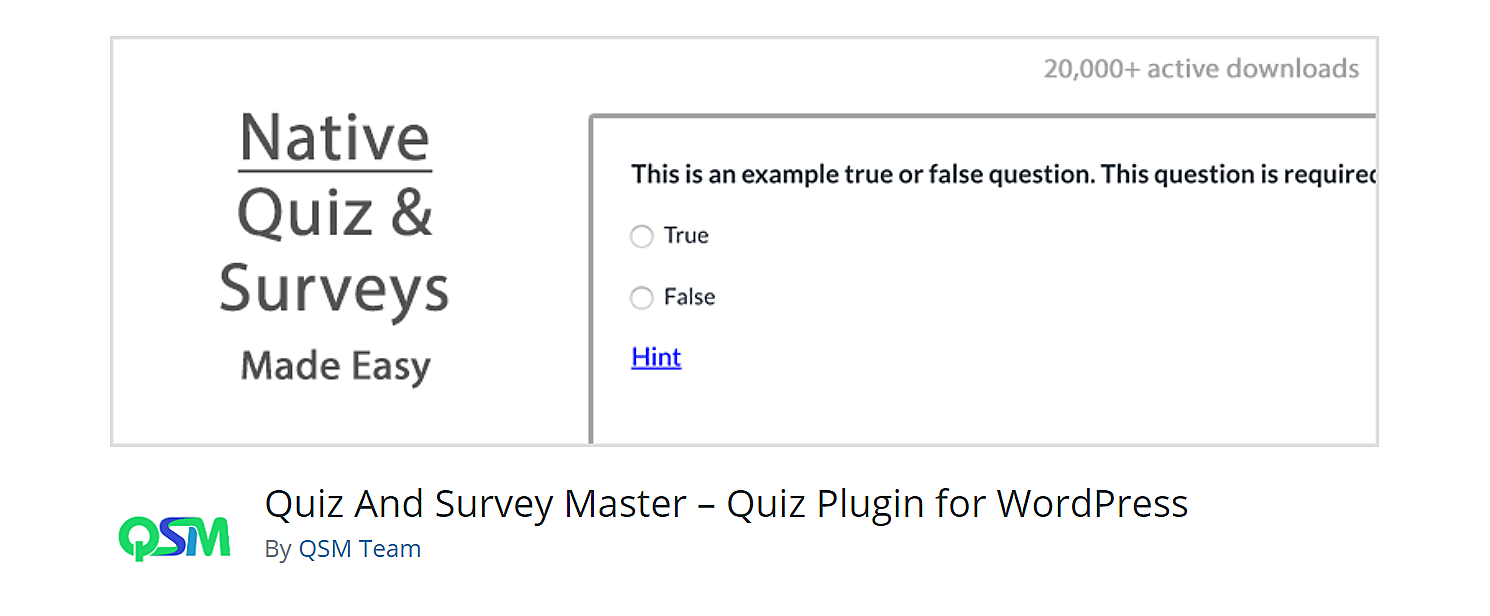 quiz and survey master wordpress plugin.