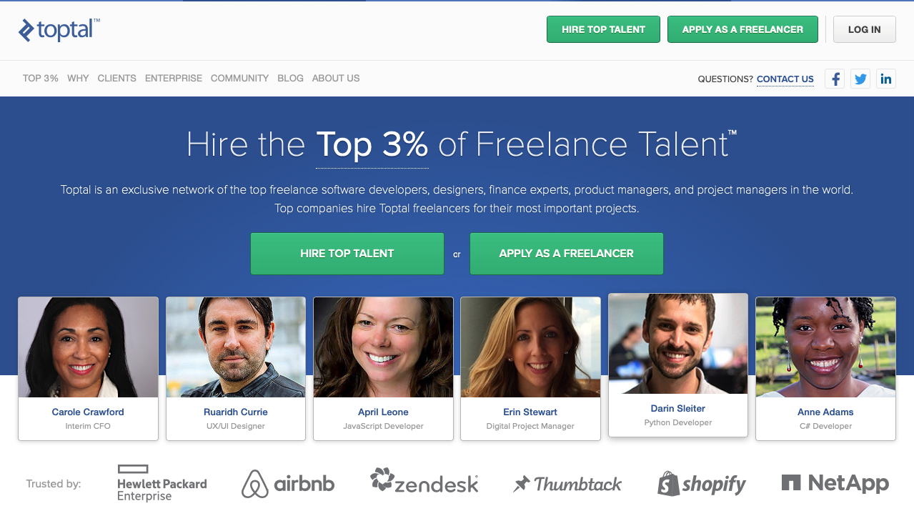 Toptal freelancer hiring platforms homepage