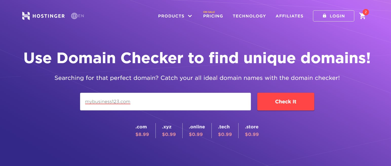 Hostinger Domain Checker tool's landing page