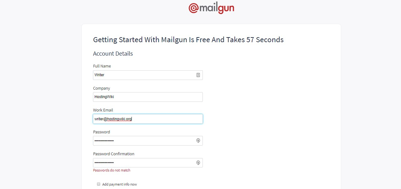Mailgun's registration form