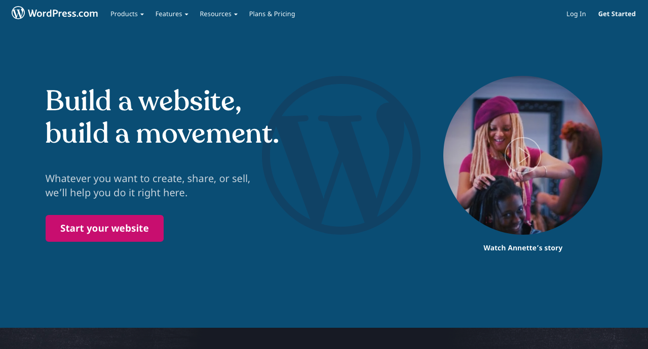 The WordPress.com homepage