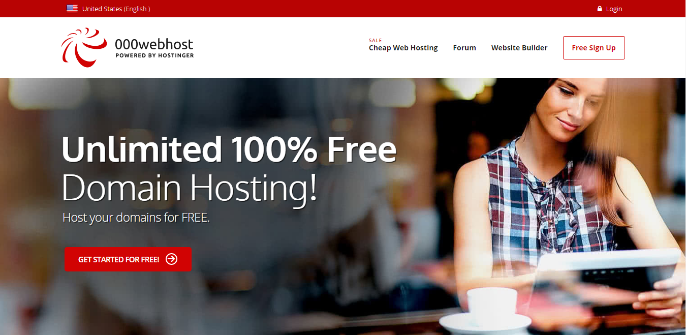 free domain name 000Webhost's domain hosting page