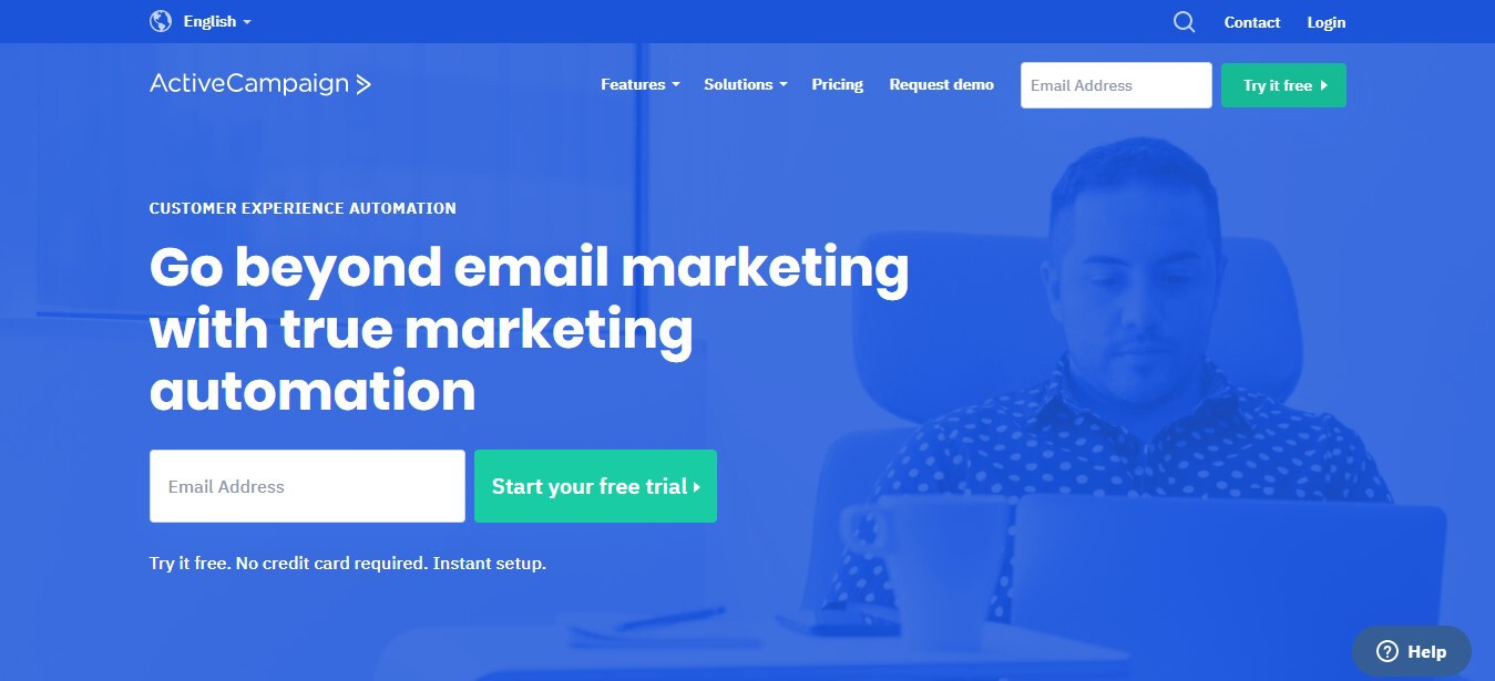 ActiveCampaign, and email marketing service, homepage