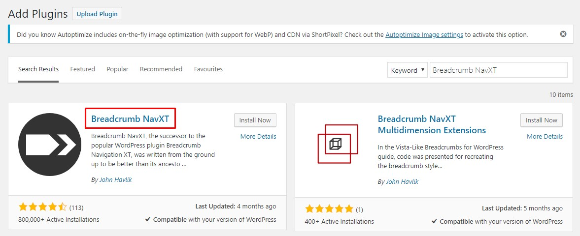Adding Breadcrumb NavXT to WordPress through the plugin section