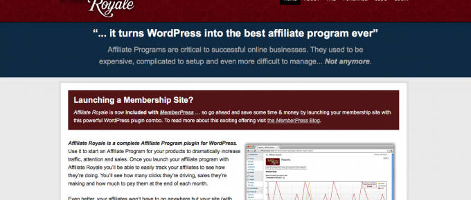 Affiliate Royale is a straightforward WordPress affiliate plugin