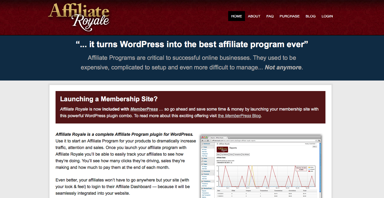 Affiliate Royale main home page.