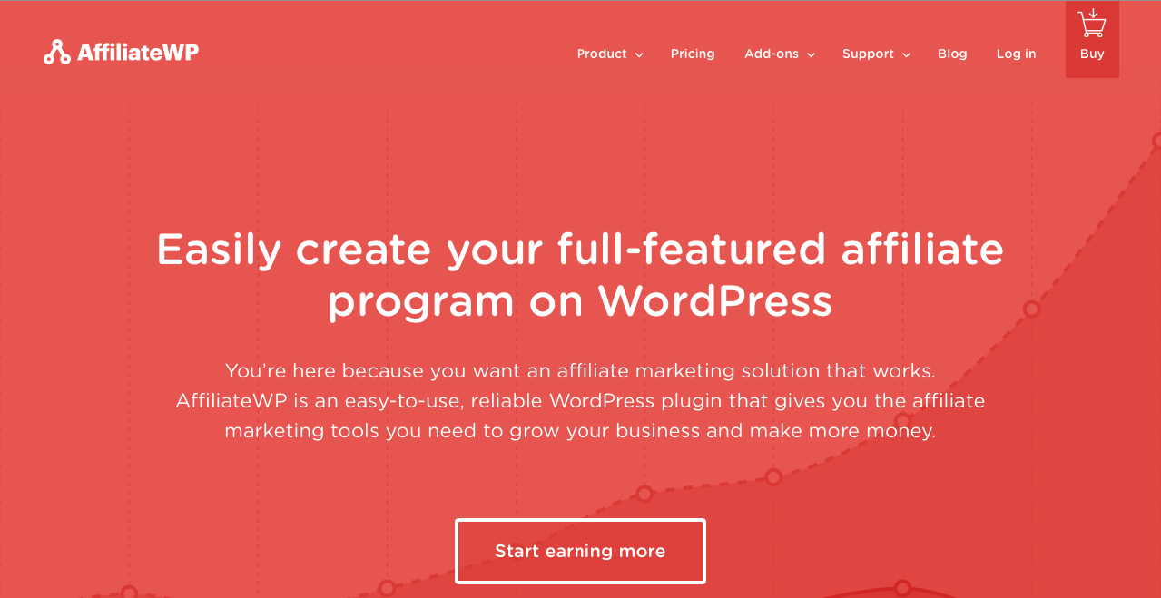 AffiliateWP main home page.