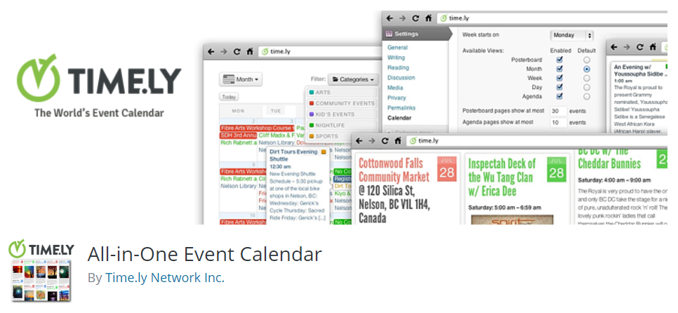 All in one event calendar banner