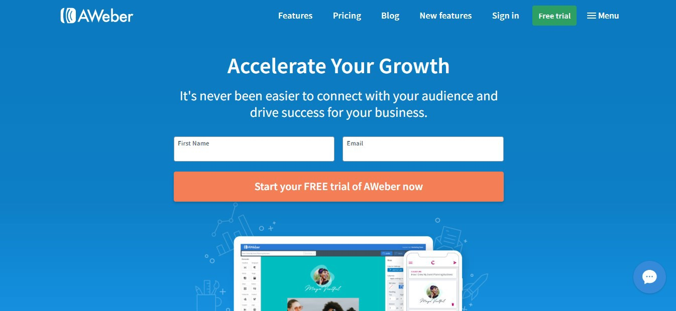 AWeber, an email marketing service, homepage