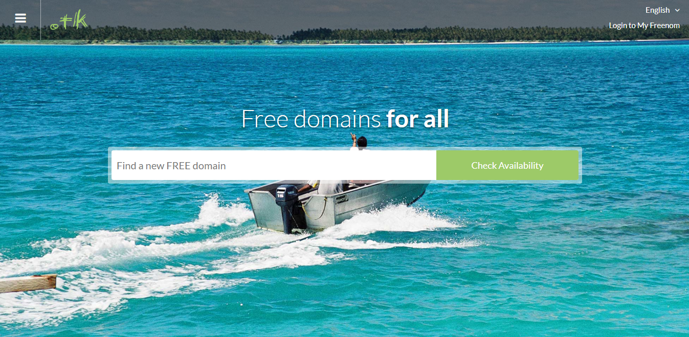 Dot TK's front page that simultaneously serves as a domain checker