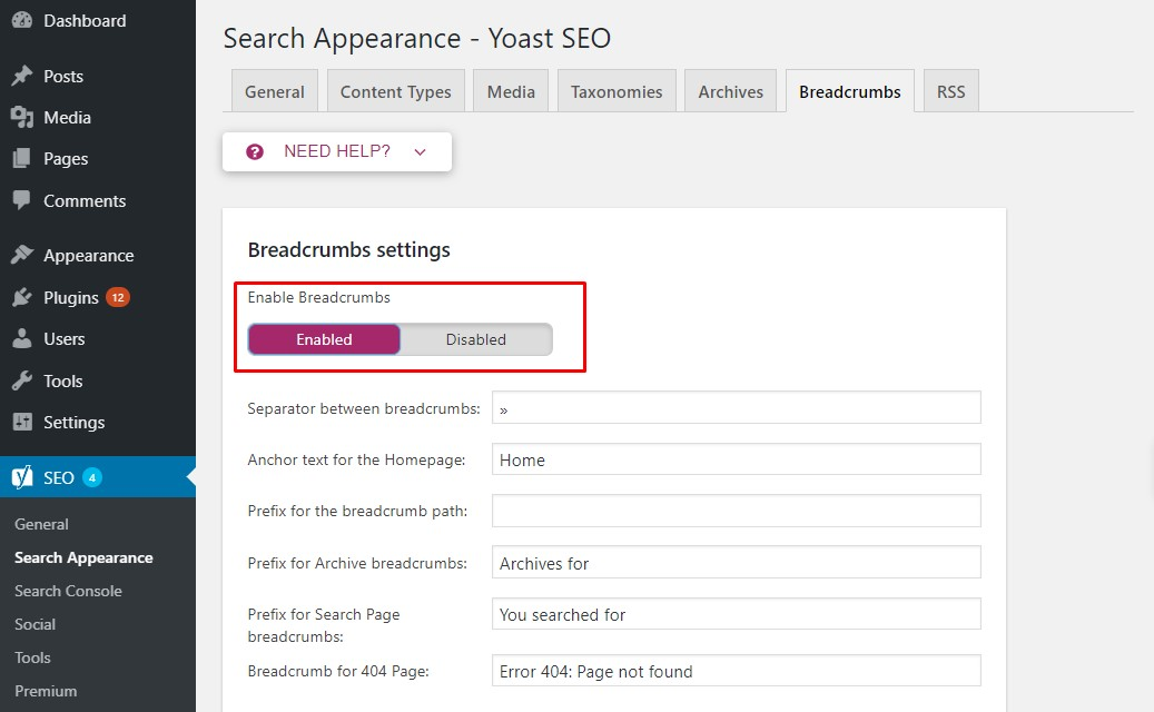 Enabling WordPress breadcrumbs using the Yoast SEO plugin