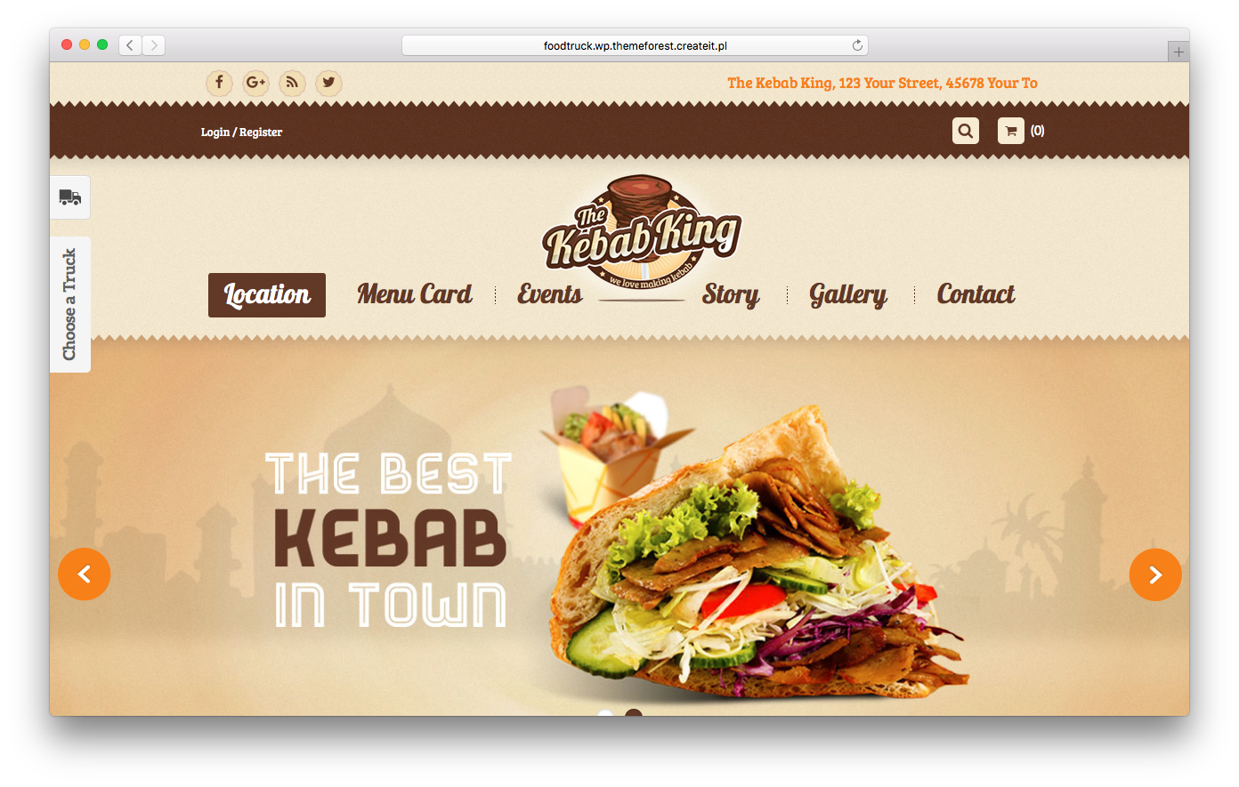FoodTruck is a great WordPress restaurant theme with a geolocation feature.
