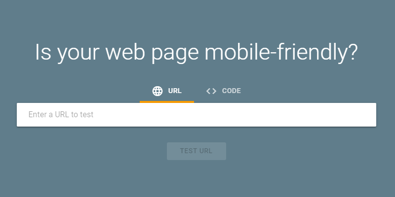 Google mobile-friendly test homepage