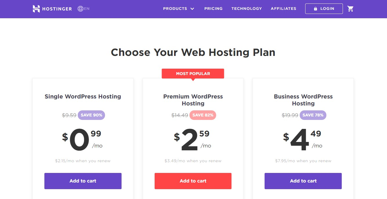 Hostinger WordPress Hosting landing page with pricing plan