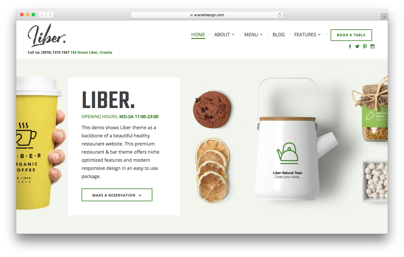 Liber is a clean WordPress restaurant theme that is worth trying.