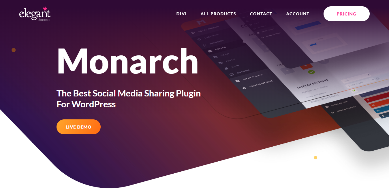 Monarch WordPress Social Media Plugin Home Page