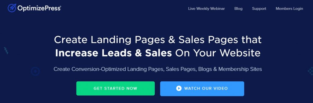 OptimizePress banner for landing pages