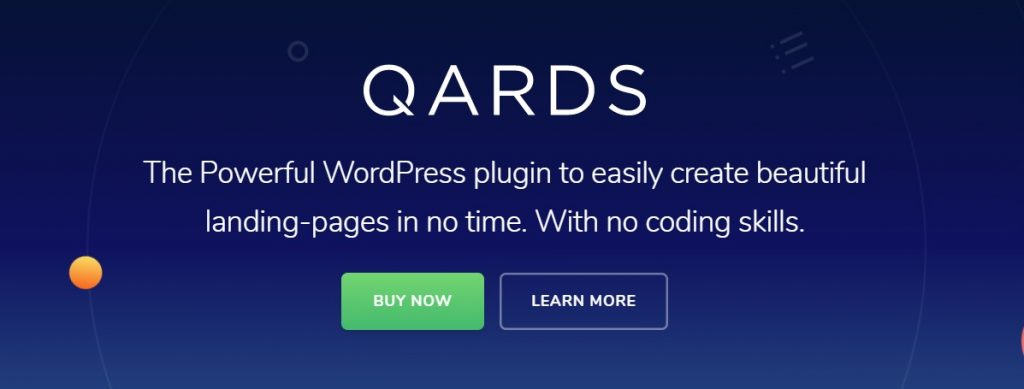 Qards landing page plugin