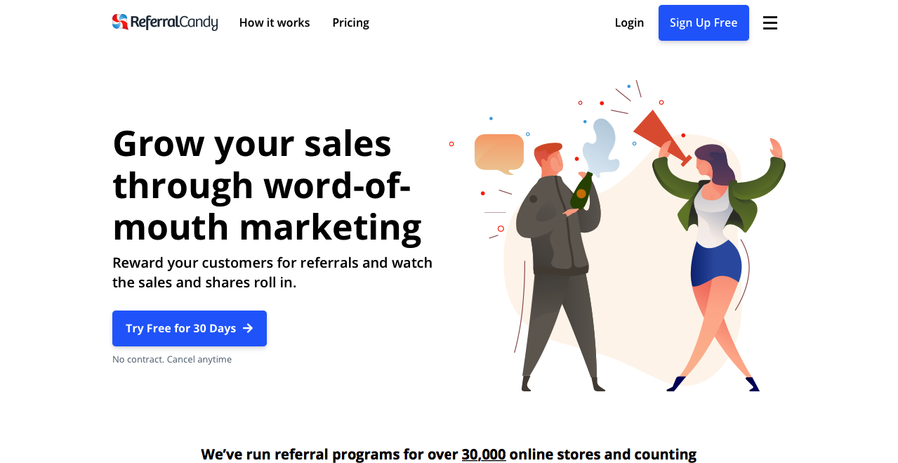 ReferralCandy main home page.