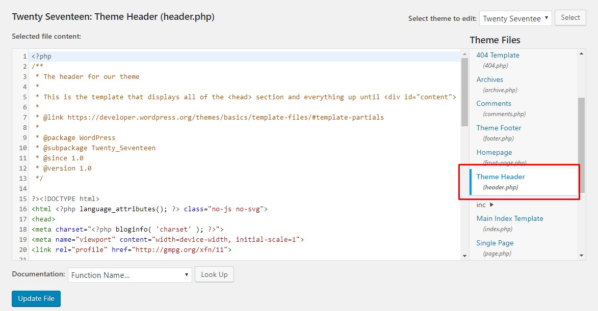 WordPress Theme editor's header section